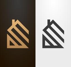 Simple line house logo, icon.