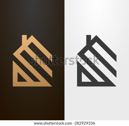 simple line house logo  icon