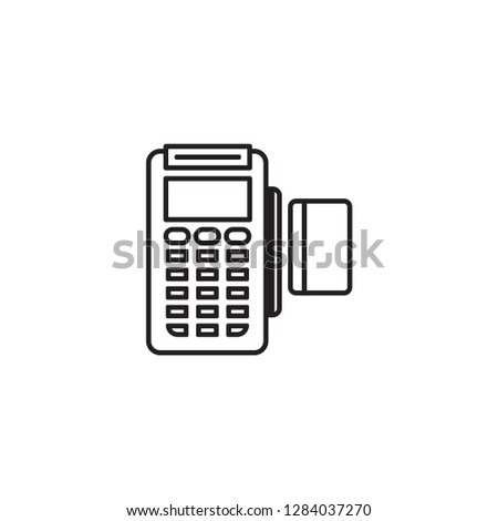 Simple Line Icon of Payment Machine and Debit Credit Card Invoice. POS terminal and NFC payment sign.
