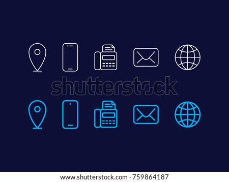 Simple line icons of contact information. Vector outline web icons