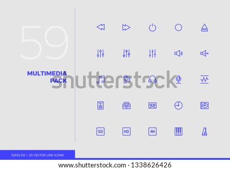 Simple line icons pack of audio and multimedia control elements. Vector pictogram set for mobile phone user interface design, UX infographic, web app, business presentation. Sign and symbol collection