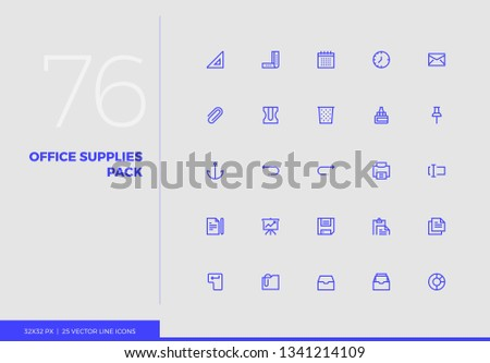Simple line icons pack of office supplies, business stationery. Vector pictogram set for mobile phone user interface design, UX infographic, web apps, business presentation. Sign and symbol collection