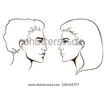 simple line illustration of beautiful young woman and man from profile
