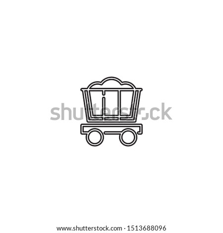 simple line mine trolly logo icon design