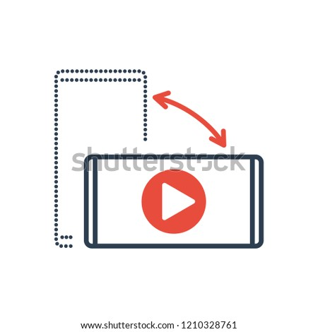 Simple Line of Cell Phone Vector Icon - Video play icon. Rotate Smartphone