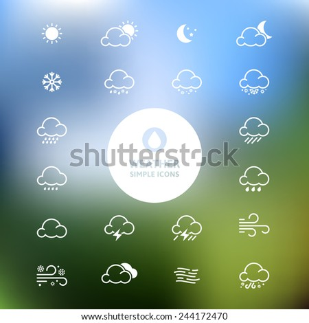 Simple line weather icon set on blurred landscape background. Vector illustration.