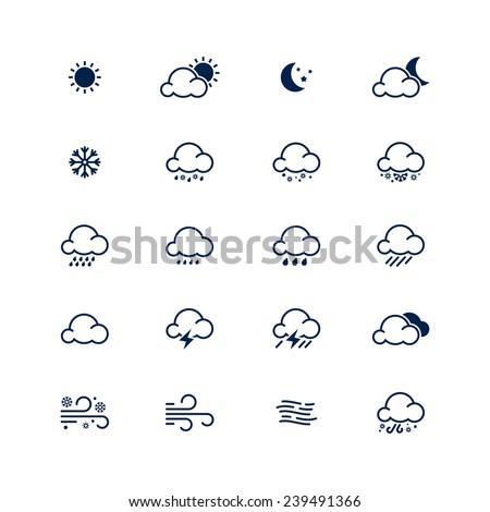 Simple line weather icon set. Vector illustration. Meteorology symbol.