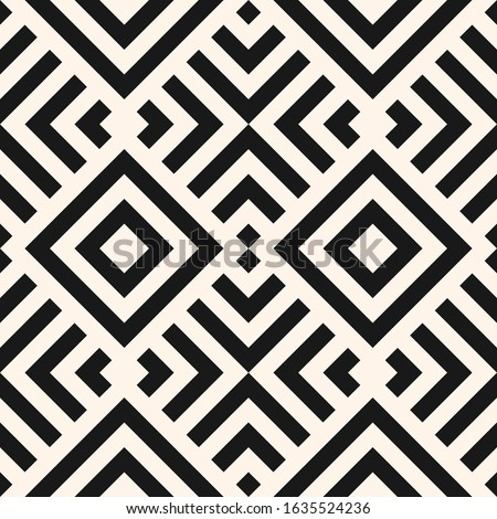 Simple linear geometric seamless pattern. Abstract monochrome geo texture with diagonal lines, squares, rhombuses, repeat tiles. Stylish minimal black and white background. Modern repeatable design
