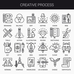 Simple linear icons in a modern style flat. Creative Process. Isolated on white background.