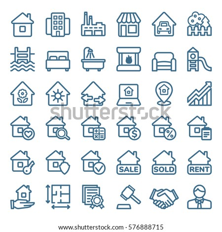 Simple linear set of real estate icons. Vector illustration