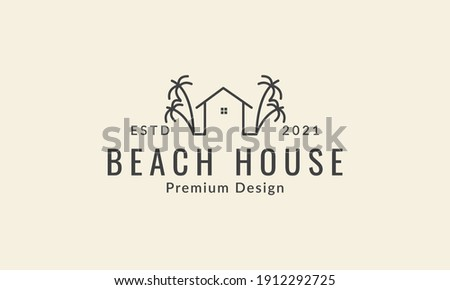 simple lines house and coconut tree  logo vector icon symbol design graphic illustration