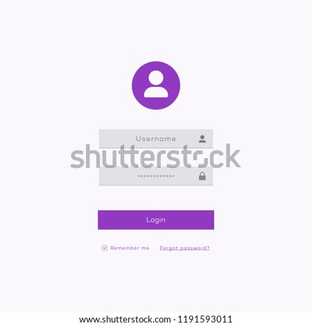 Simple login form page template flat style for app development, smartphone mockups, website ui elements, online login form, registration, user profile, access to account concept. Vector 10 eps
