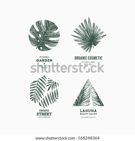 Simple logo collection. Engraved logotype set. Tropical beauty salon symbols. Vector illustration