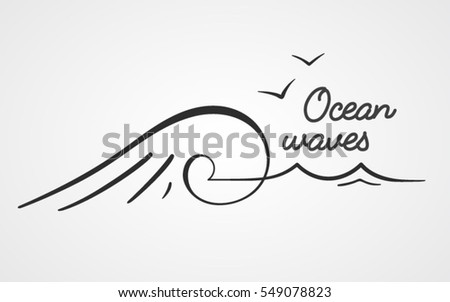 simple logo with ocean wave