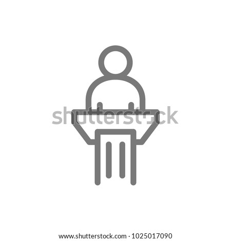 Simple man in pulpit line icon. Public speaking symbol and sign vector illustration design. Isolated on white background