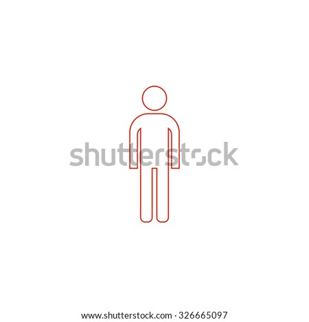 simple man red outline vector
