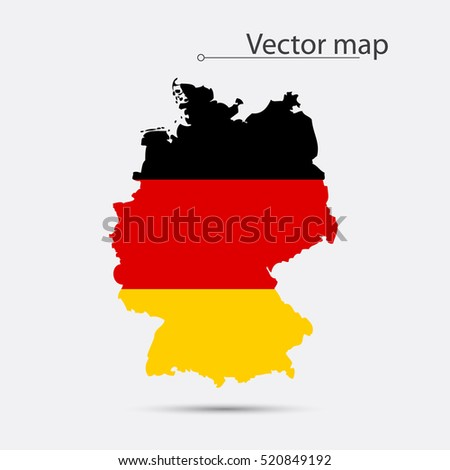 simple map of germany with flag