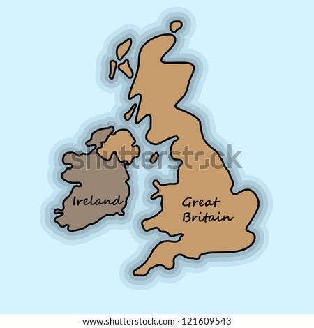 Simple map of Great Britain and Ireland