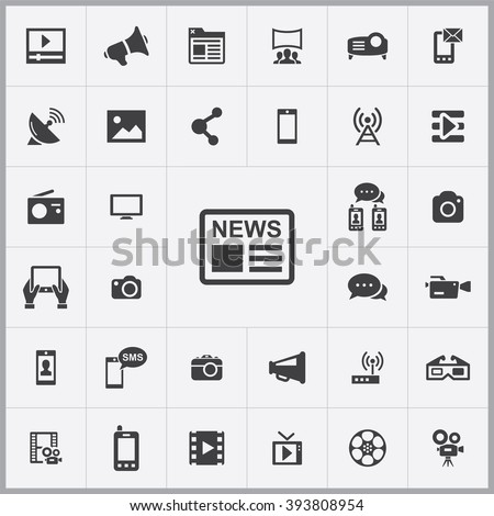 Simple media icons set. Universal media icon to use for web and mobile UI, set of basic media elements