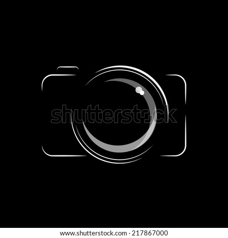 Simple minimal camera icon in black and white isolated for Camera minimal