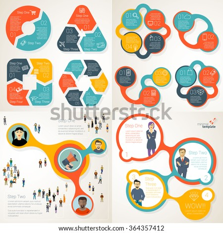 Simple infographic templates vector collection