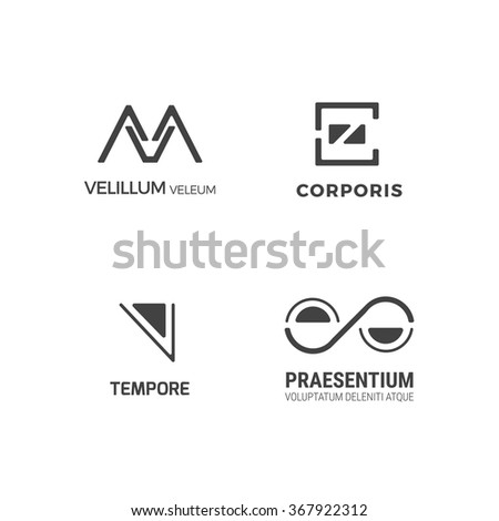 Simple minimal logo set. Flat abstract logo for your company. Vector design template.