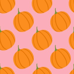 Simple minimalism food pumpkin seamless pattern. Pink background with orange vegetable elements. Perfect for wallpaper, wrapping paper, textile print, fabric. Vector illustration.