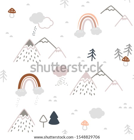 Simple minimalist Nordic Scandinavian style pattern in forest theme with hills, trees, toadstools and rainbows with clouds and rains. Cute unisex pattern in gray and pink shades for nursery prints Photo stock ©