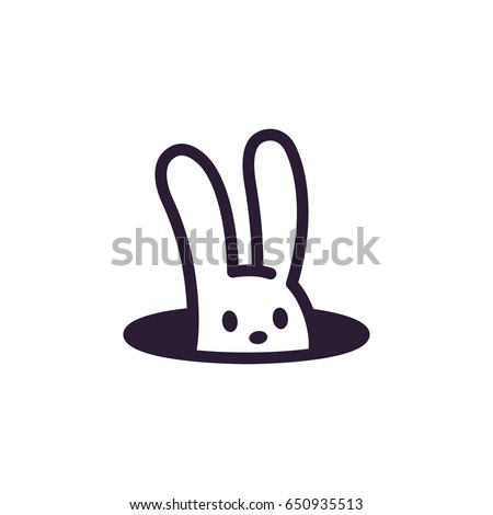 Simple, minimalistic rabbit in hole logo. Cute cartoon bunny vector illustration.