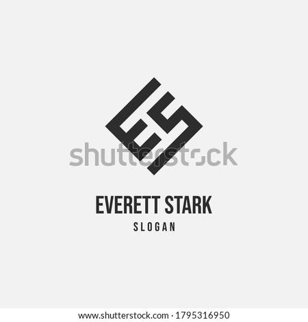 Simple Modern ES SE Monogram Logo Stock fotó ©