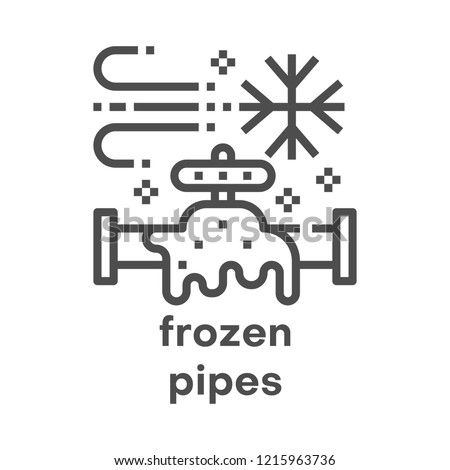 Simple modern line icon. Plumbing sign. Vector illustration. Frozen pipes symbol.