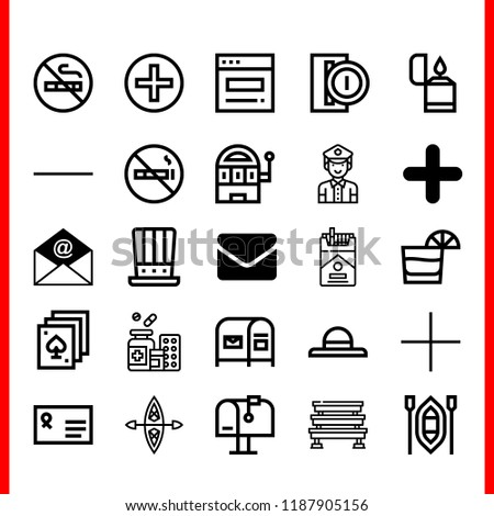 Simple modern set of  add icons such as substract,mailbox,steps,kayak,envelope. add icons use for seb and mobile.