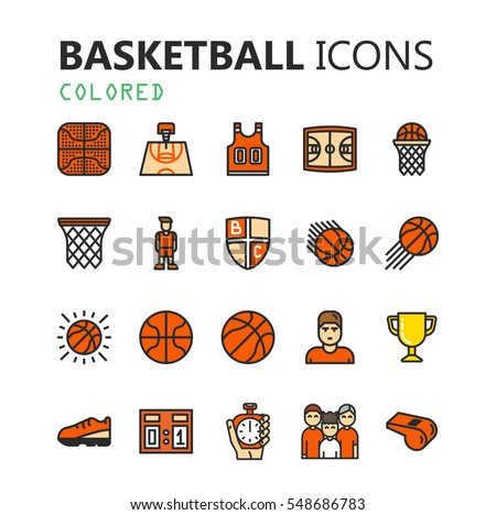 Simple modern set of basketball icons. Premium symbol collection. Vector illustration. Simple pictogram pack.