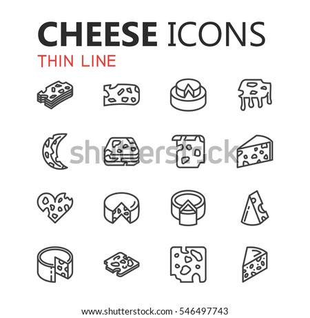 Simple modern set of cheese icons. Premium symbol collection. Vector illustration. Simple pictogram pack.