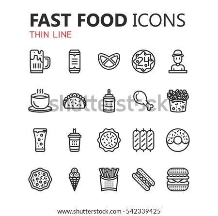 Simple modern set of fast food icons. Premium symbol collection. Vector illustration. Simple pictogram pack.