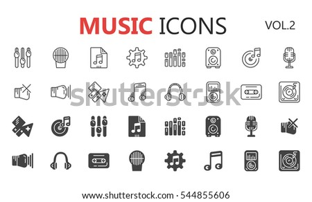 Simple modern set of music icons. Premium symbol collection. Vector illustration. Simple pictogram pack.