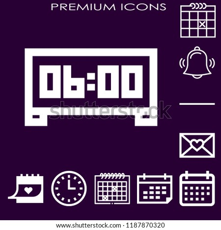 Simple modern set of 10 number icons such as calendar,alarm,substract,letter