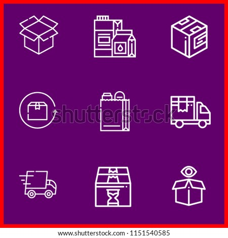 Simple modern set of 9 outline icons related package  such as open box,milk box  #1151540585