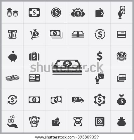 Simple money icons set. Universal money icon to use in web and mobile UI, set of basic UI money elements