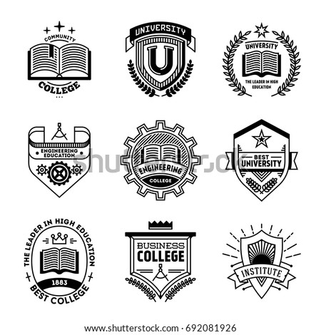 Simple Mono Lines Logos Collection. College University Institute.
