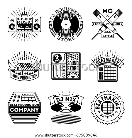 Simple Mono Lines Logos Collection. Rap Hip-Hop Signs.