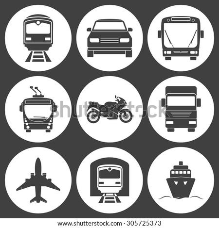 Simple monochromatic transport icons set. Vector EPS8 illustration.