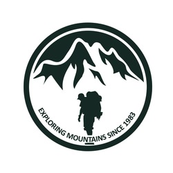 Simple monochrome graphic design of a traveler walks toward a mountain, can be used as stamps, logo, sticker of adventure or outdoor activity club