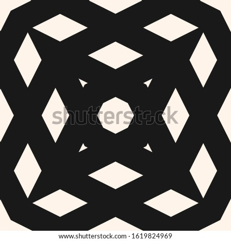 Simple monochrome vector geometric seamless pattern with crossing diagonal lines, grid, net, mesh, lattice. Abstract black and white texture. Minimal graphic background. Repeat tileable design
