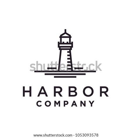 Simple Monoline Lighthouse / Searchlight logo design inspiration