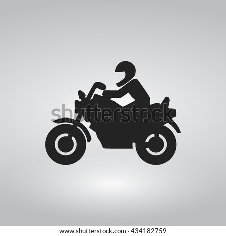 Simple Motorcycle Flat Icon / Riding Motor cycle Icon.