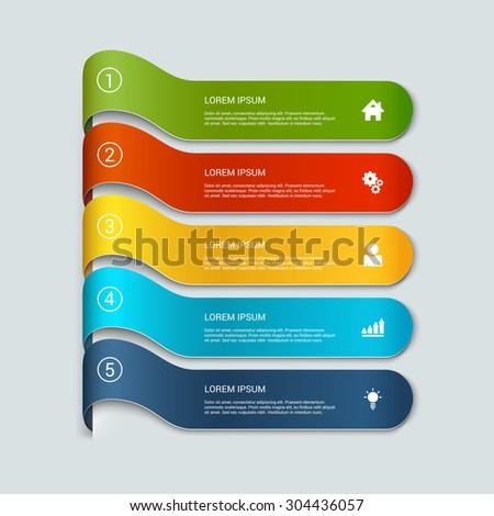 Simple Multicolor 3d Line 5 Steps Infographics Mockup Template ...