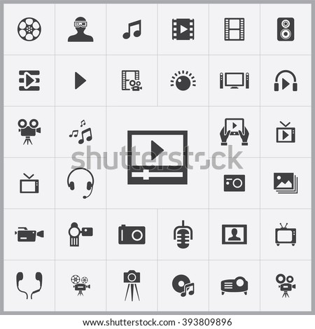 Simple multimedia icons set. Universal multimedia icon to use for web and mobile UI, set of basic multimedia elements
