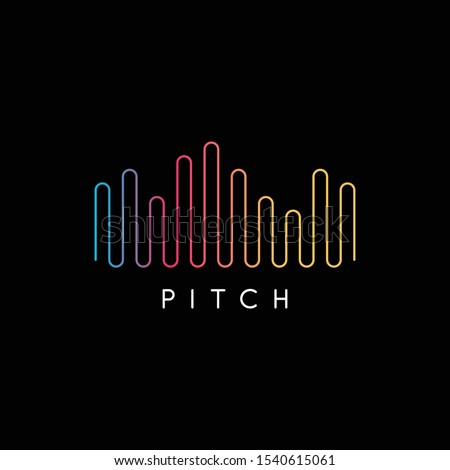 Simple music start up logo design. Colorful music logo template design. Streaming music logo and icon. Colorful abstract line, audio technology. Minimal sound wave music logo. - Vector