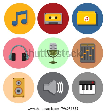 Simple Musical Symbol Icons Vector Illustration Graphic Set
